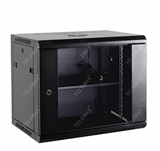 19 Inch Wall Mount Network Cabinets, Glass Door, Black Or Grey Color, SPCC Material, Single Section