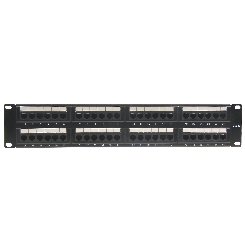2U 19'' 48 Ports Cat 6 UTP PCB Patch Panel Dual IDC with Back Bar, Golden plating 50u''