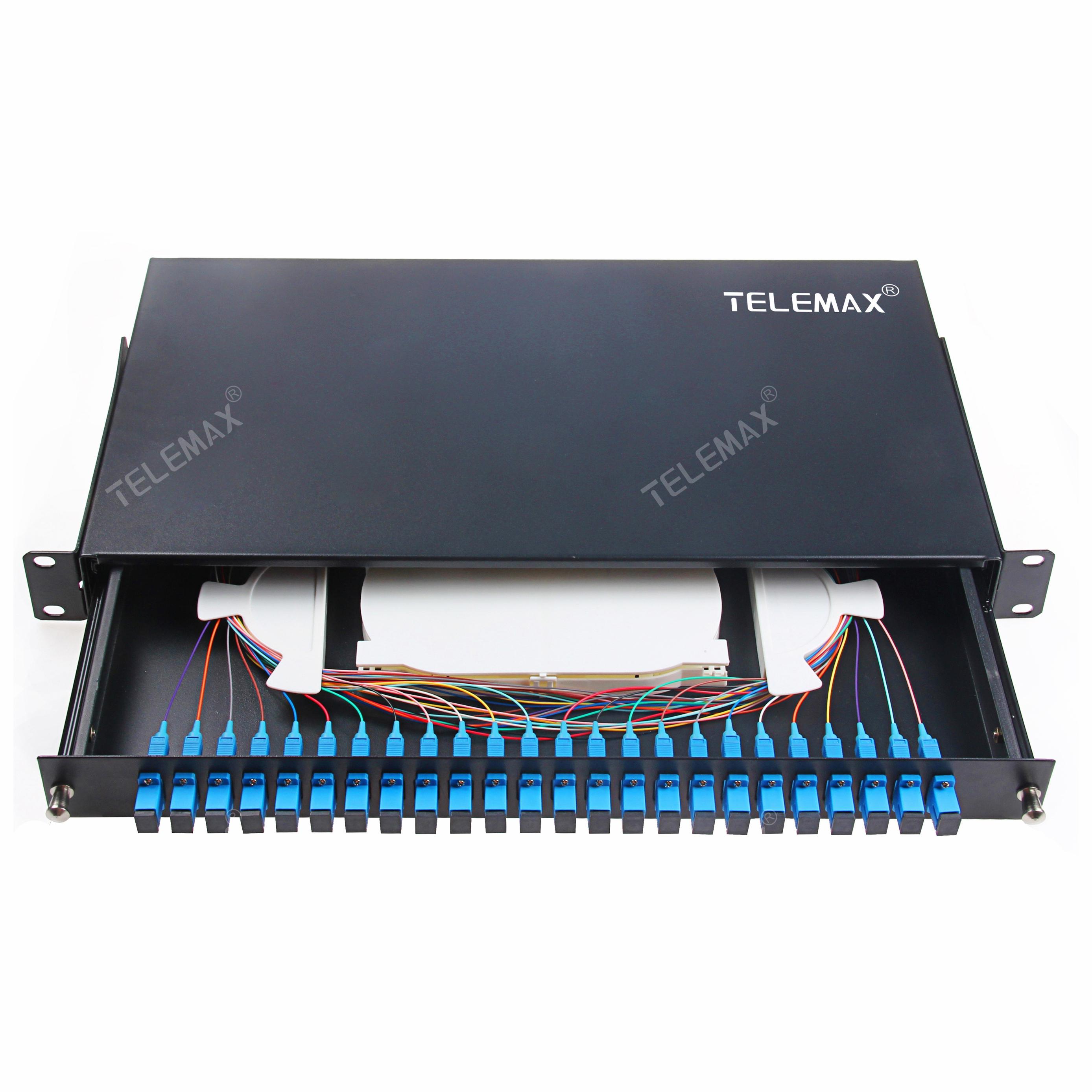 1U 19''24 Ports LC/SC (FC/ST) Fiber Path Panel Sliding Type Black Color