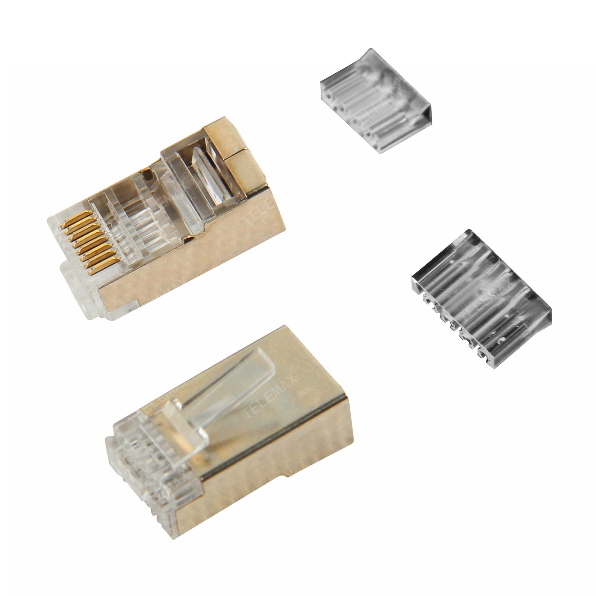 CAT6A FTP RJ45 Plug 8P8C, Golden plating 3/15/30/50u'',Copper Pin,Two Parts
