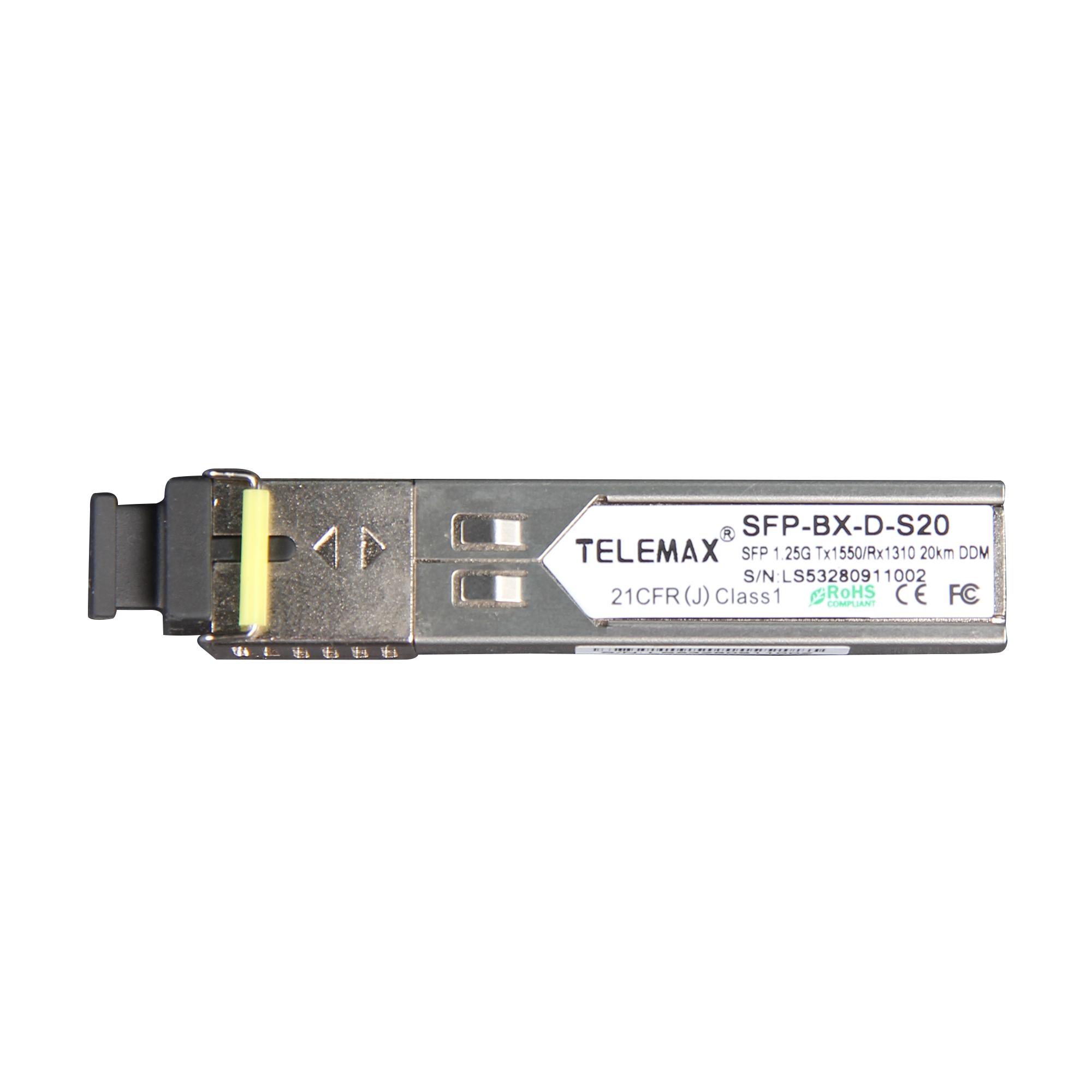 SFP 1.25G Tx1550/Rx1310 SC Simplex 20km DDM