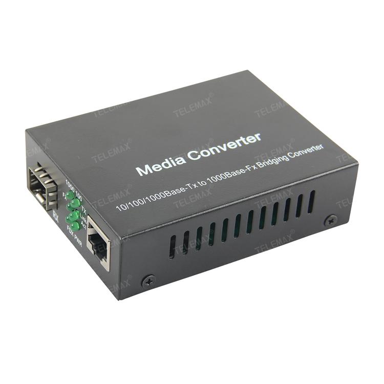10/100/1000Mbps Adaptive gigabit Ethernet Media Converter, 1 RJ45 / 1 1.25Gbps Fiber Port